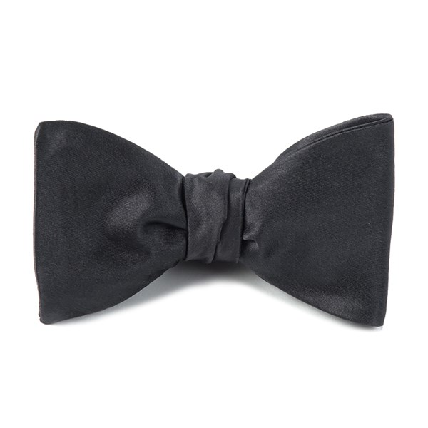 Charcoal Solid Satin Bow Tie