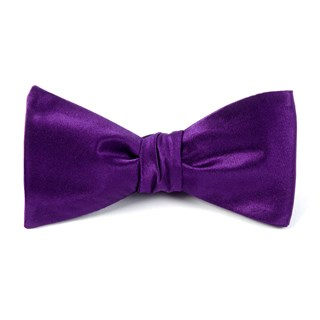 solid satin plum bow ties