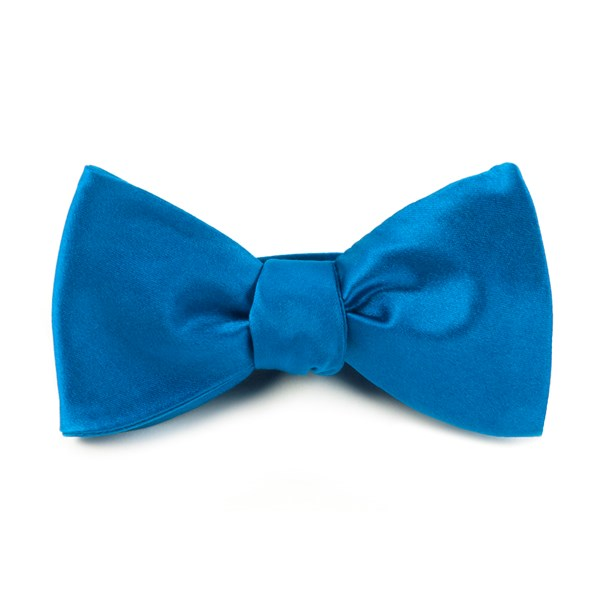 Serene Blue Solid Satin Bow Tie