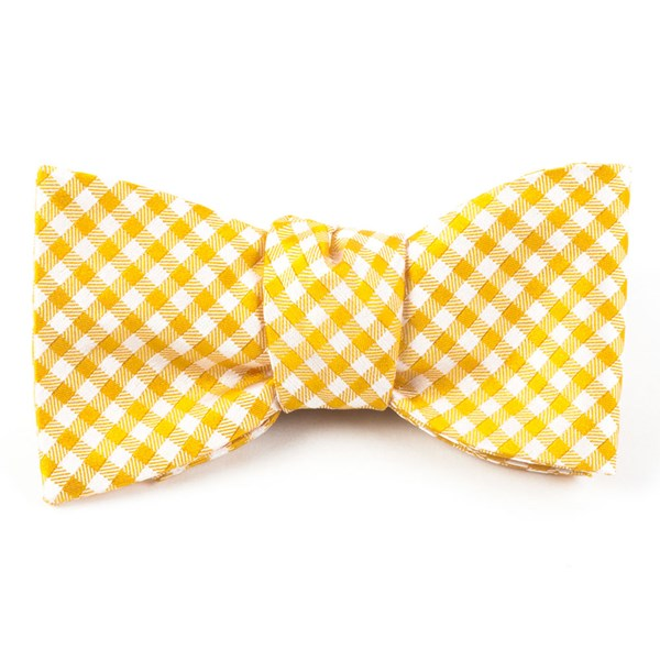 Yellow Gold Checked Out Bow Tie