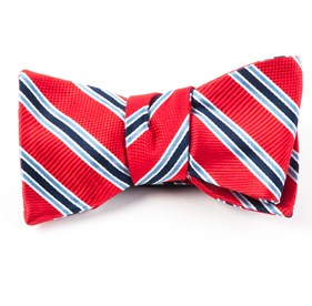 Bella Stripe Red Bow Ties