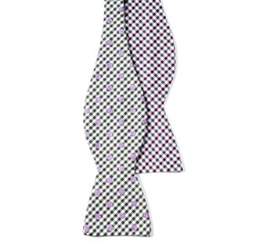 Memphis By Beale St. Dotted Plaid By Dwyane Wade Silver Bow Ties