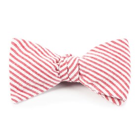 Seersucker Red Bow Ties