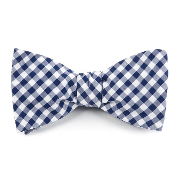 Navy New Gingham Bow Tie