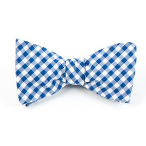 new gingham royal blue bow ties