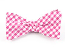 BOW TIES - NEW GINGHAM - HOT PINK