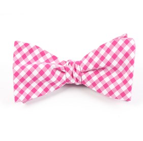 Hot Pink New Gingham bow ties