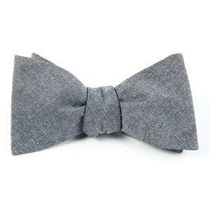 classic chambray soft grey bow ties