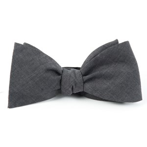 classic chambray warm grey bow ties
