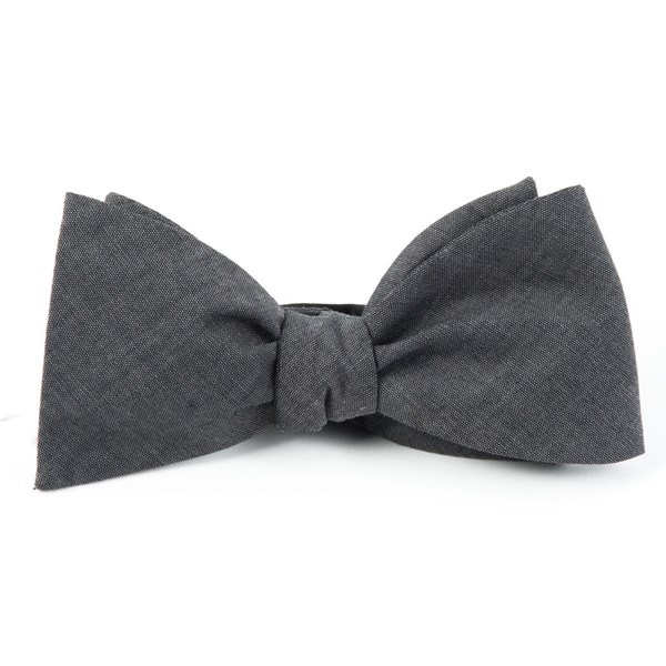 Warm Grey Classic Chambray Bow Tie
