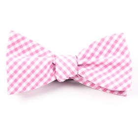 Pink Novel Gingham bow ties