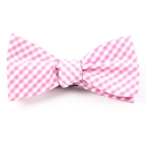 novel gingham pink bow ties