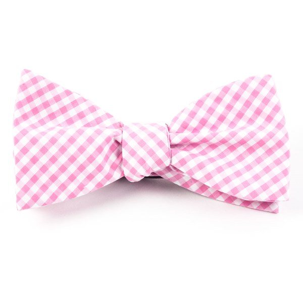 Pink Novel Gingham Bow Tie