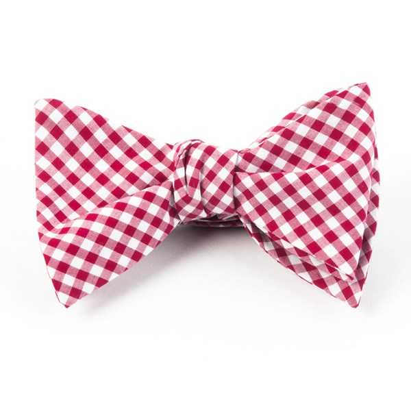 Red Novel Gingham Bow Tie