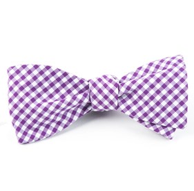 Novel Gingham Plum Bow Ties
