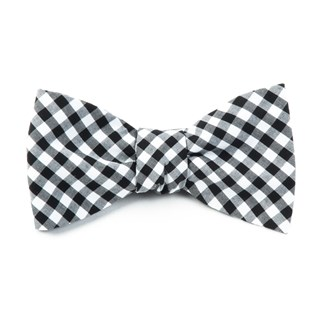 Novel Gingham Black Bow Tie