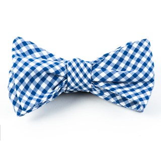 Novel Gingham Royal Blue Bow Tie