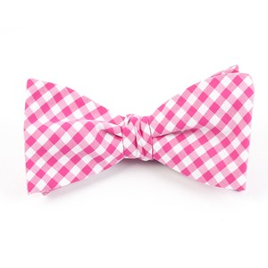 novel gingham hot pink bow ties