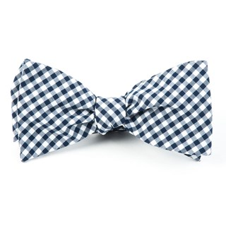 Novel Gingham Navy Bow Tie