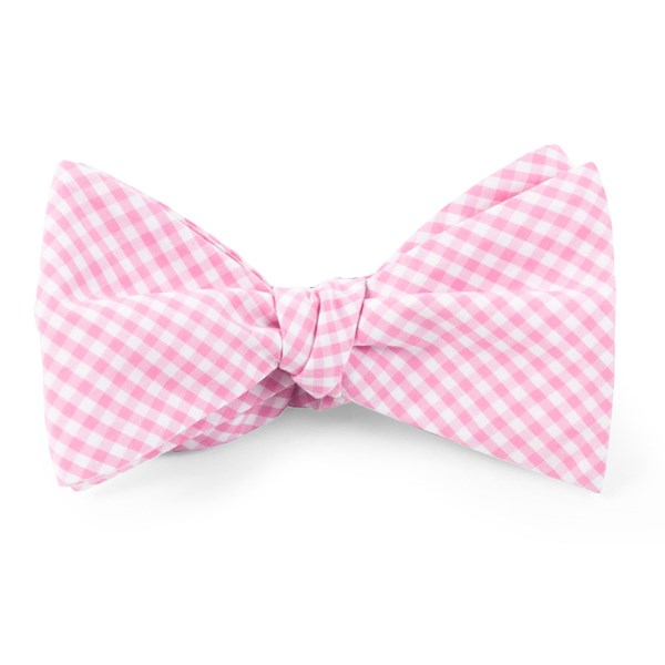 Pink Petite Gingham Bow Tie