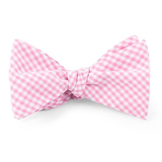 Petite Gingham Pink Bow Tie