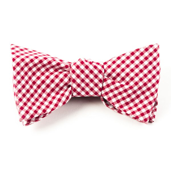Red Petite Gingham Bow Tie