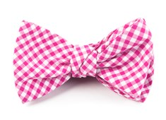 BOW TIES - PETITE GINGHAM - HOT PINK