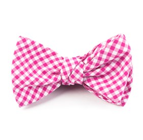 Hot Pink Petite Gingham bow ties