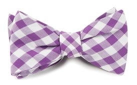 BOW TIES - COTTON TABLE PLAID - PLUM