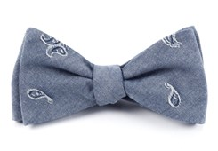 Bow Ties - CHAMBRAY TEARDROP - STEEL BLUE