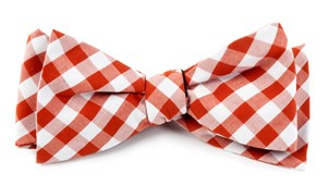 BOW TIES - COTTON TABLE PLAID - BURNT ORANGE