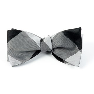 bison plaid black bow ties