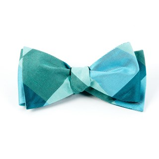 Bison Plaid Turquoise Bow Tie