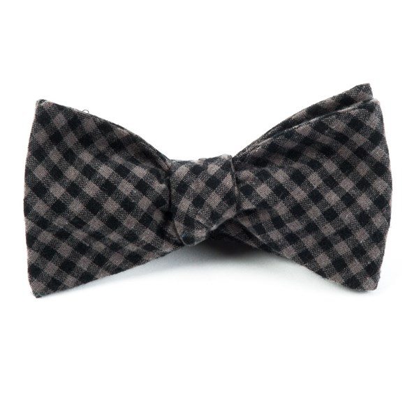 Charcoal Metric Plaid Bow Tie
