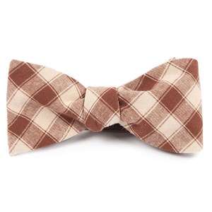 port street checks chocolate brown bow ties