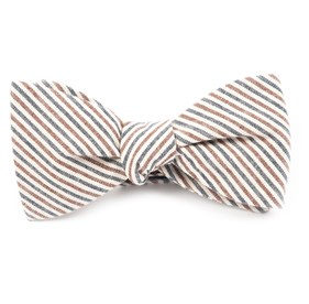 Navy Scholar Stripe bow ties