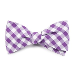 classic gingham purple bow ties