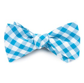 Turquoise Classic Gingham bow ties