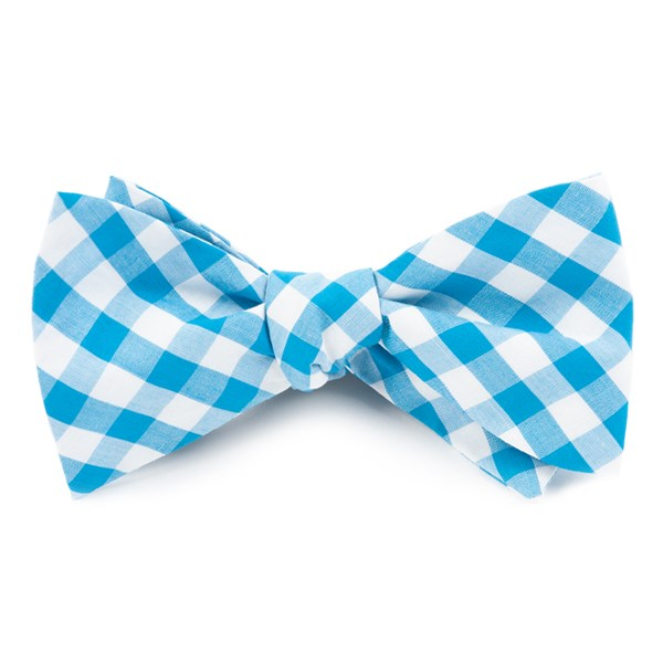 Turquoise Classic Gingham Bow Tie