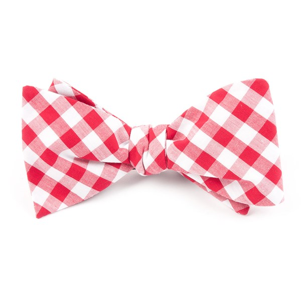 Red Classic Gingham Bow Tie