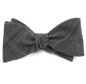 Charcoal Central Glen Plaid bow ties