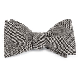 Black Cotton Glen Plaid bow ties