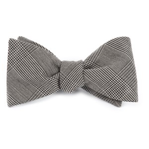 cotton glen plaid black bow ties
