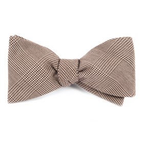 Brown Cotton Glen Plaid bow ties