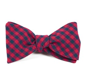 Gingham Shade Apple Red Bow Ties