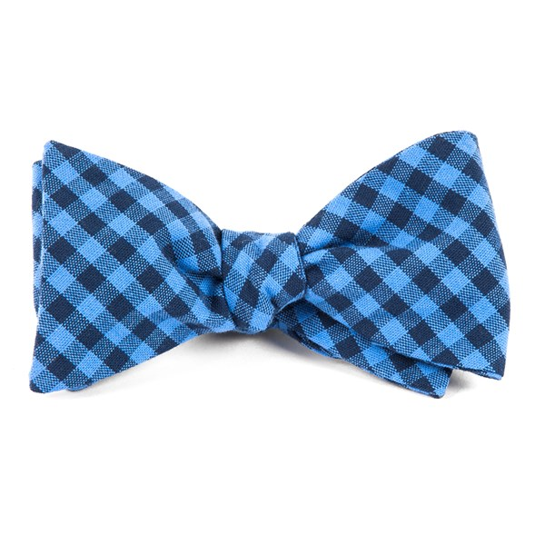 Light Blue Gingham Shade Bow Tie
