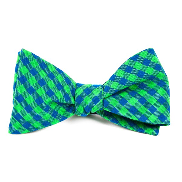 Apple Green Gingham Shade Bow Tie