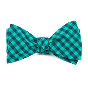 gingham shade caribbean teal bow ties