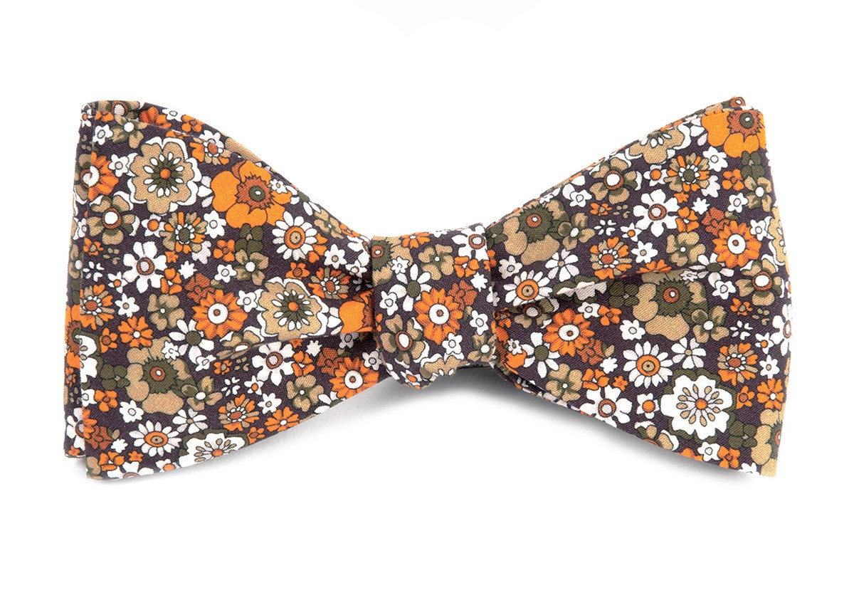 brown floral level bow tie