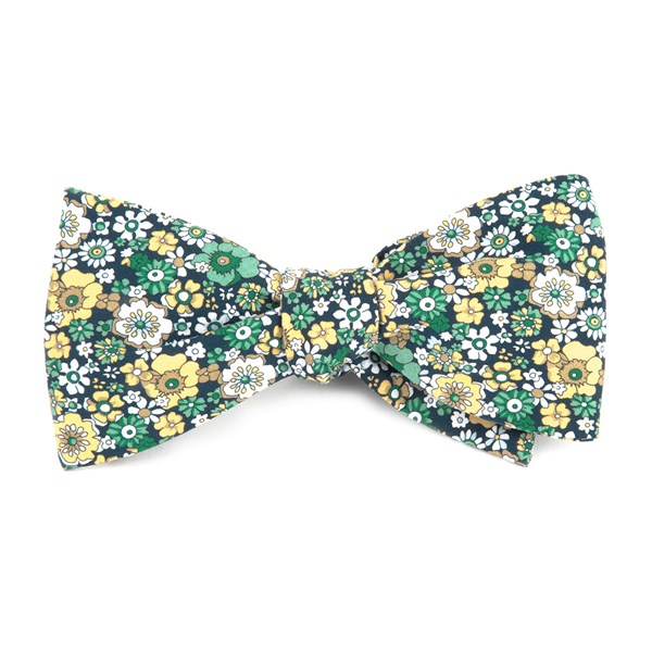 Navy Floral Level Bow Tie